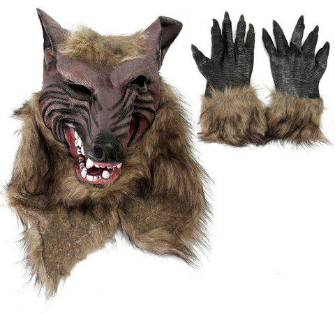 Werewolf Latex Mask Gloves Wolf Claw Halloween Party Cosplay Costumes Props Game - OAK BROWN