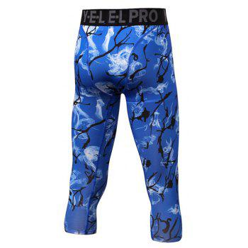 Men's Sports Print Fitness Running Quick Dry Cropped Trousers - DEEP BLUE 2XL