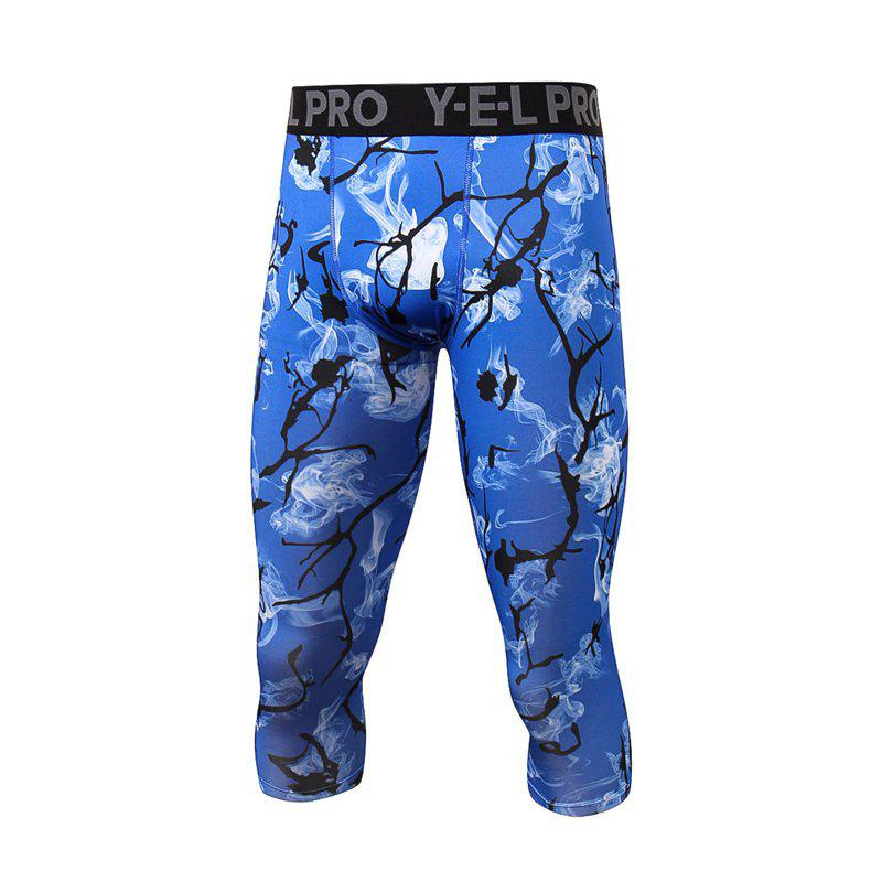 Men's Sports Print Fitness Running Quick Dry Cropped Trousers - DEEP BLUE L