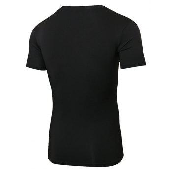 Men's Fitness Running Quick-drying Short T-Shirt - BLACK M