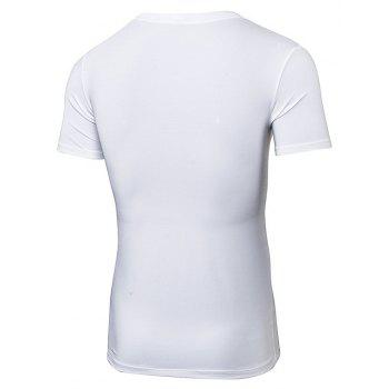 Men 's Fitness T-shirt court à séchage rapide - Blanc 2XL