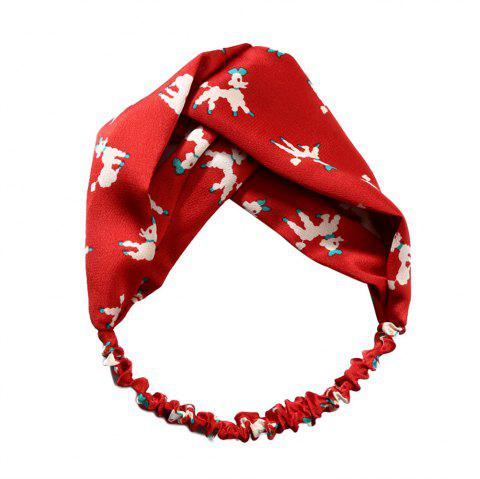 Solid Color Puppy Lady Travel Yoga Exercise Elastic Cross Hairband - RED