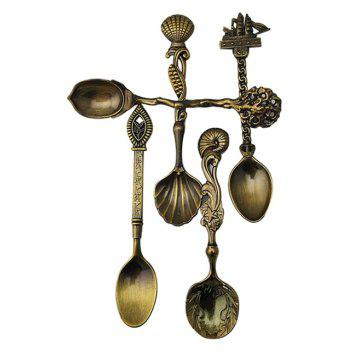 5pcs/set Vintage Royal Style Bronze Carved Small Coffee Tools - BRONZE