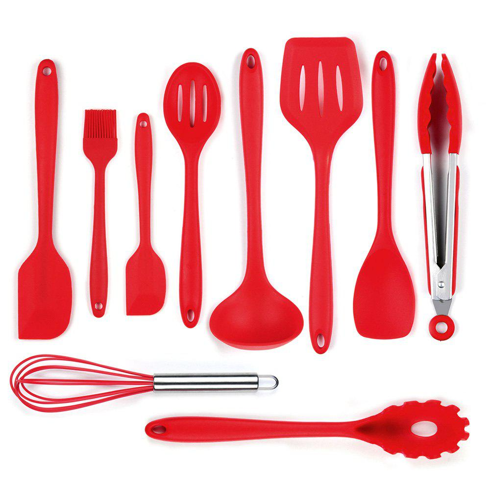 Silicone Spatula Utensil Set  10 Pieces(Red) - RED
