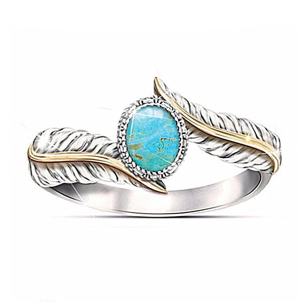 Magnifique Bijoux Femme Turquoise Feather Party Ring - Turquoise Moyenne US SIZE 6