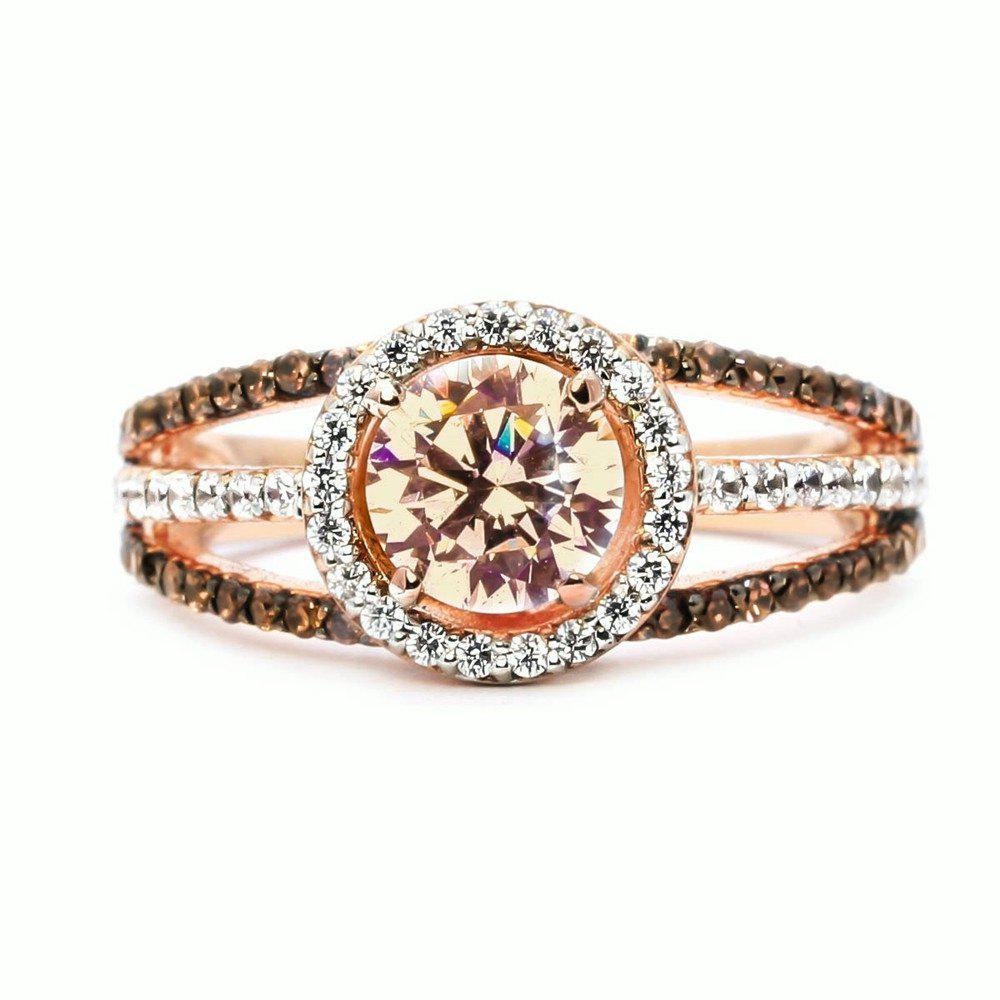 Luxury Exquisite Rose Gold Gemstone Diamond Charm Crystal Bride Princess Ring 277609502