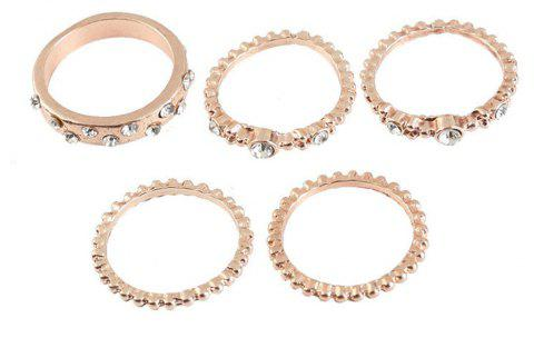 5 PCS Fashion Or Rose Stackable Sparkly Rings - Or de Rose US SIZE 9