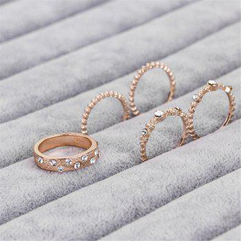 5 PCS Fashion Rose Gold Stackable Sparkly Rings - ROSE GOLD US SIZE 7