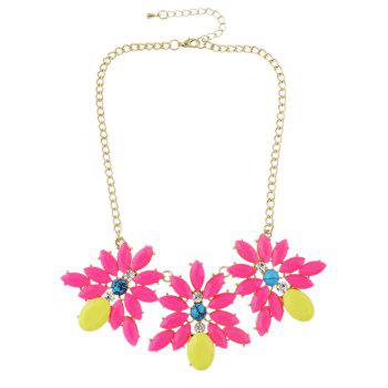 Metal Chain with Candy Color Flower Collar Necklace - ROSE RED