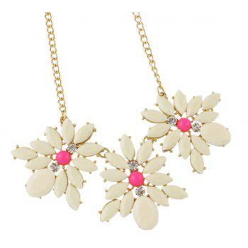 Metal Chain with Candy Color Flower Collar Necklace - BEIGE