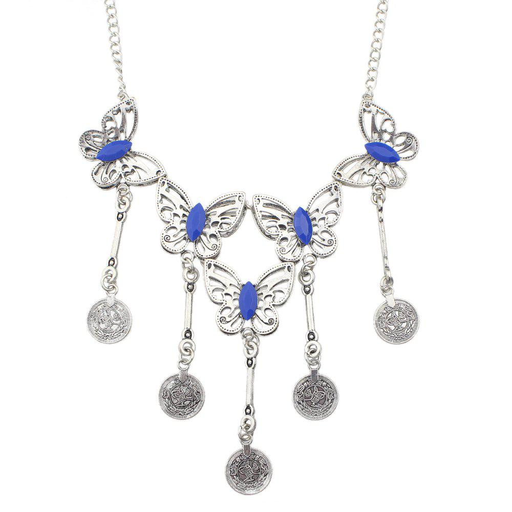 Metal Chain Coloured Gemstone Hollow-out Butterfly Necklace - multicolor B