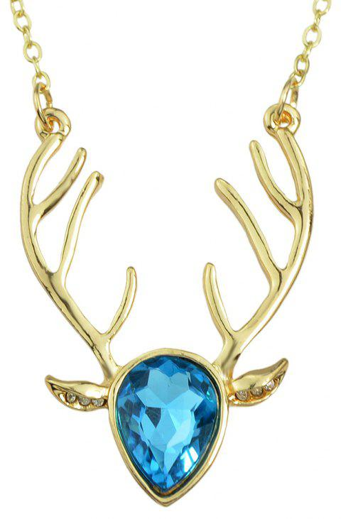 Luxurious Crystal Deer Head Pendant Necklace for Women - multicolor E