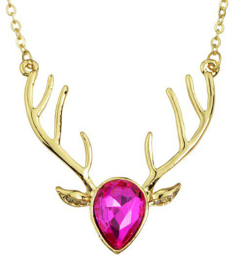 Luxurious Crystal Deer Head Pendant Necklace for Women - multicolor D