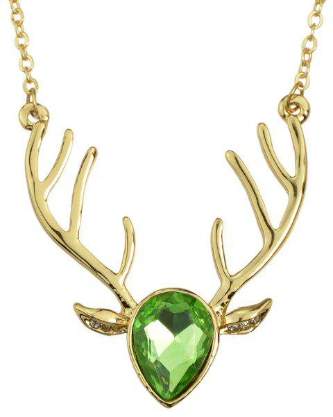 Luxurious Crystal Deer Head Pendant Necklace for Women - multicolor C
