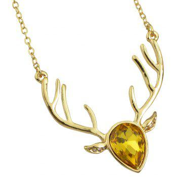 Luxurious Crystal Deer Head Pendant Necklace for Women - multicolor F
