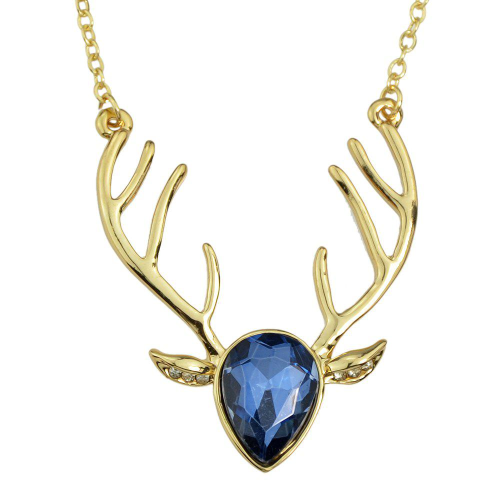 Luxurious Crystal Deer Head Pendant Necklace for Women - multicolor A