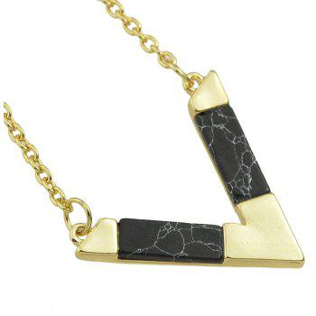 Metal Multilayer Chain with Turquoise Geometry Necklace - GOLD