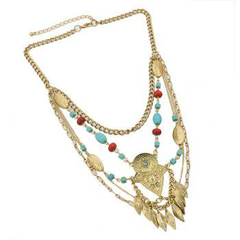 Metal Multilayer Chain with Bead Geometry Necklace - GOLD