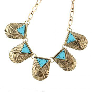 Vintage Metal Chain with Gemstone Geometry Necklace - GOLD