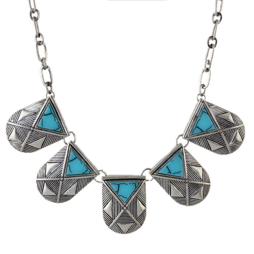 Vintage Metal Chain with Gemstone Geometry Necklace - SILVER