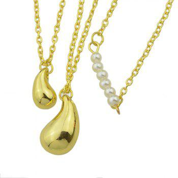 Metal Multilayer Chain with Water Drop Necklace - GOLD