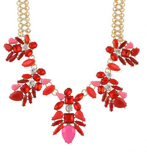 Luxurious Gemstone Flower Necklace for Women - RUBY RED