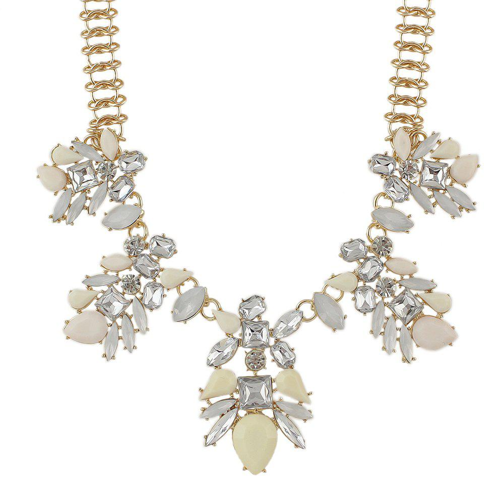 Luxurious Gemstone Flower Necklace for Women - BEIGE