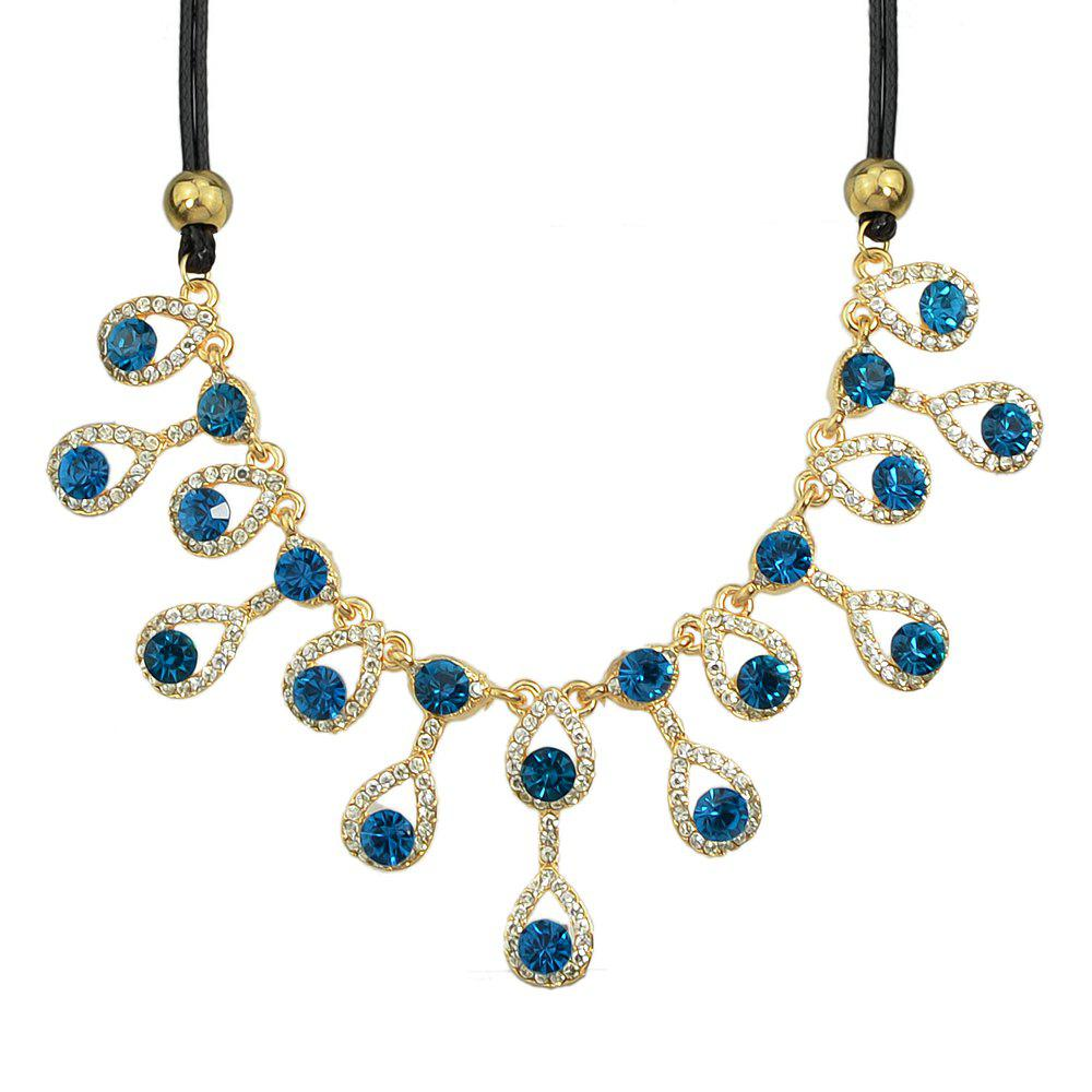 Luxurious Jewelry Full Rhinestone Water Drop Design Collar Necklace - GOLD