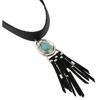 PU Leather Necklace for Women with Turquoise and Tassel Pendant - SILVER