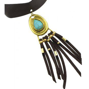 PU Leather Necklace for Women with Turquoise and Tassel Pendant - GOLD