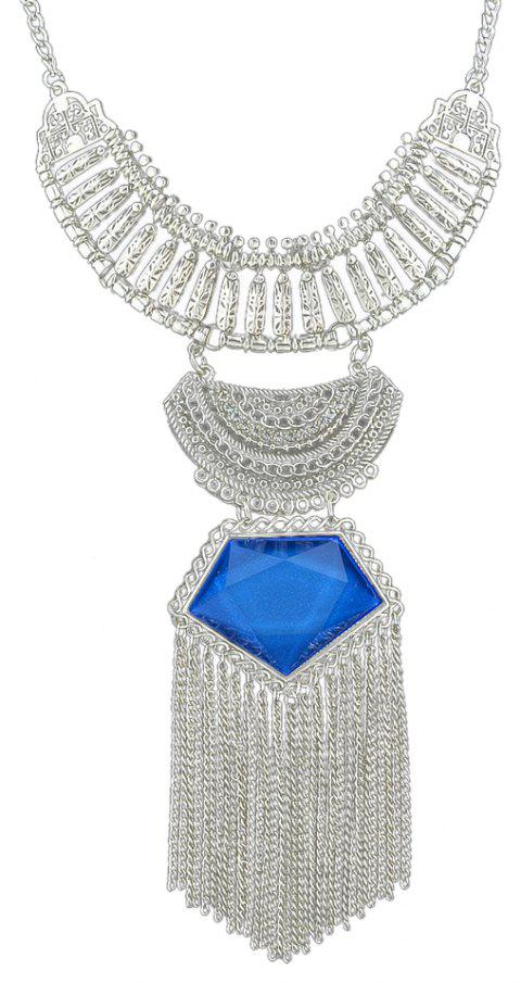 Colorful Gemstone Geometric Necklace for Women with Long Tassel - BLUE DRESS
