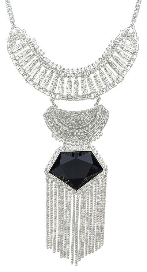 Colorful Gemstone Geometric Necklace for Women with Long Tassel - BLACK