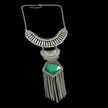 Colorful Gemstone Geometric Necklace for Women with Long Tassel - CLOVER GREEN
