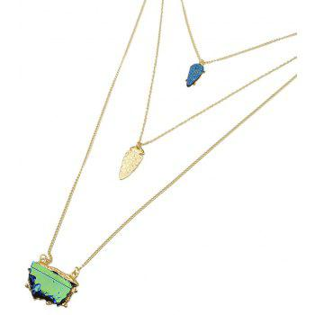 Metal Multilayer Chain Stone Geometric Long Pendant Necklace for Women - multicolor A