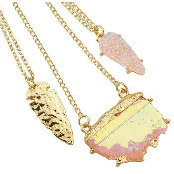 Metal Multilayer Chain Stone Geometric Long Pendant Necklace for Women - multicolor B