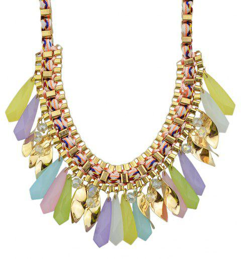 Braided Chain with Colorful Acrylic Geometric Charm Collar Necklace - multicolor B