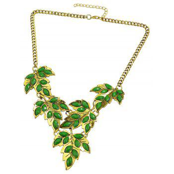 Metal Chain with Colorful Created Rhinestone Leaf Necklace - multicolor B