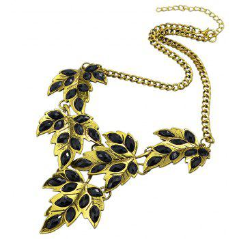 Metal Chain with Colorful Created Rhinestone Leaf Necklace - multicolor A