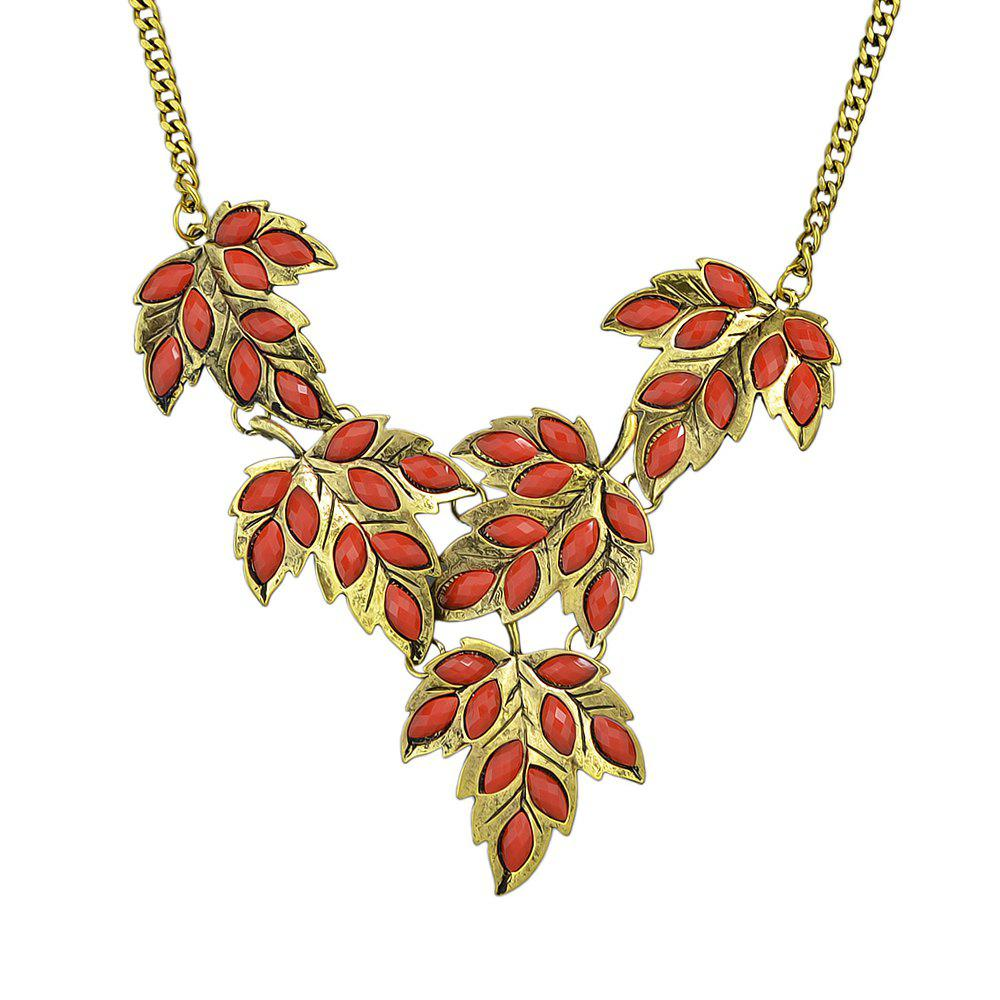 Metal Chain with Colorful Created Rhinestone Leaf Necklace - multicolor C