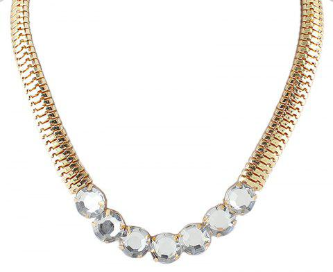 Individual Metal Chain with Gemstone Necklace for Women - GOLD