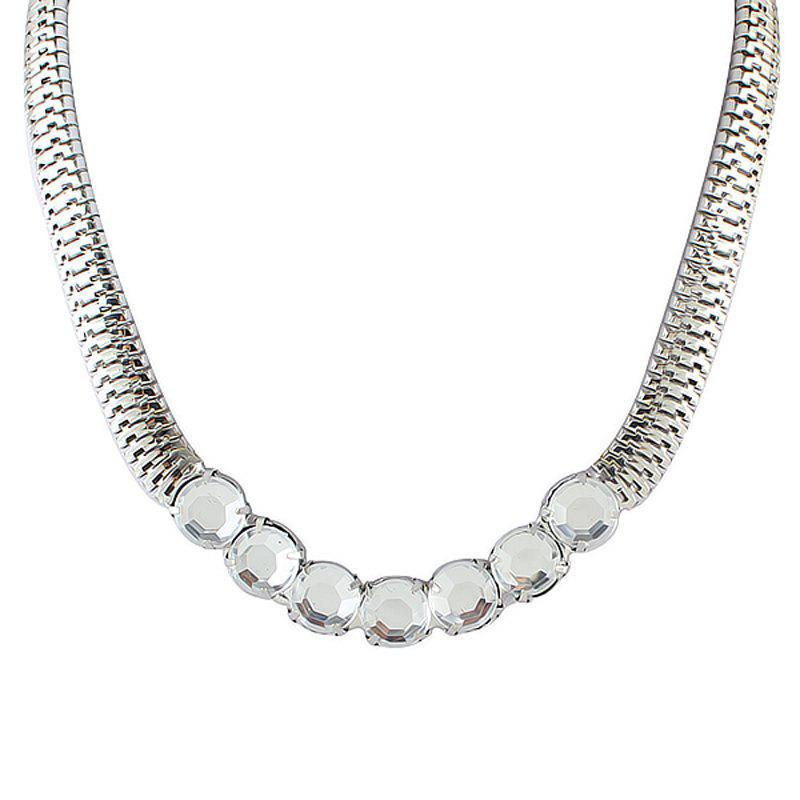 Individual Metal Chain with Gemstone Necklace for Women - SILVER