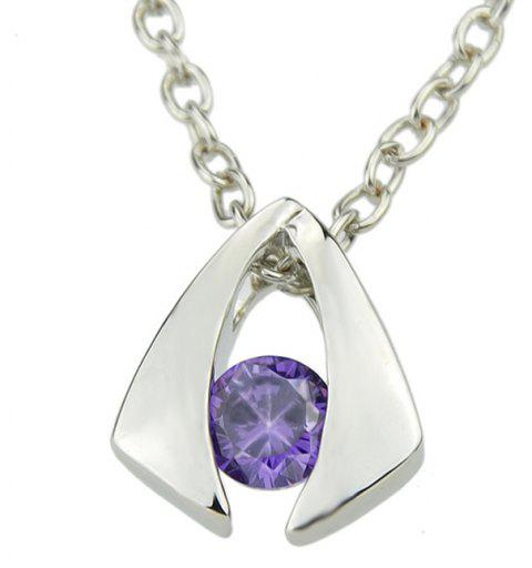 Simulated Crystal Jewelery Metal Geometric Pendent Necklace - multicolor B