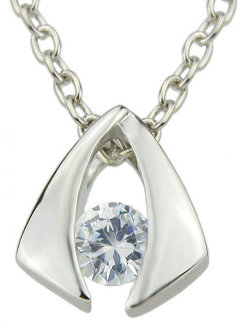 Simulated Crystal Jewelery Metal Geometric Pendent Necklace - multicolor D