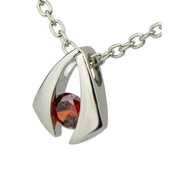 Simulated Crystal Jewelery Metal Geometric Pendent Necklace - multicolor C