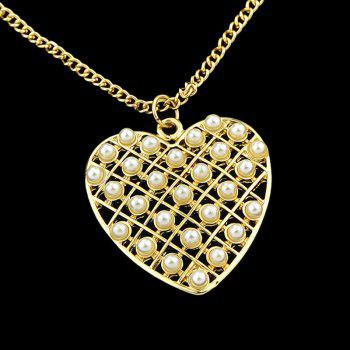 Metal Long Chain with Hollow-out Heart Pendant Necklace - GOLD