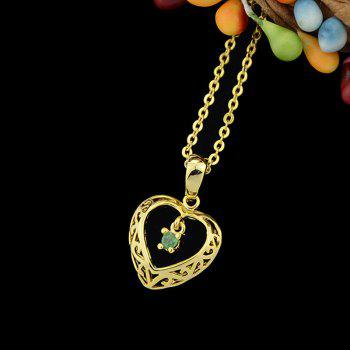 Metal Chain Hollow-out Heart Rhinestone Pendant Necklace - multicolor A