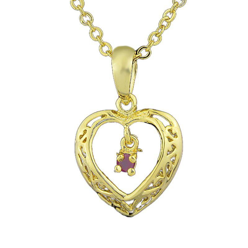 Metal Chain Hollow-out Heart Rhinestone Pendant Necklace - multicolor B