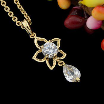 Delicate Hollow-out Flower Rhinestone Water Drop Pendant Necklace - multicolor