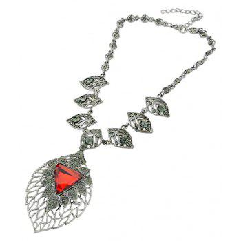 Hollow-out Leaf Gemstone Pendant Necklace for Women - multicolor B