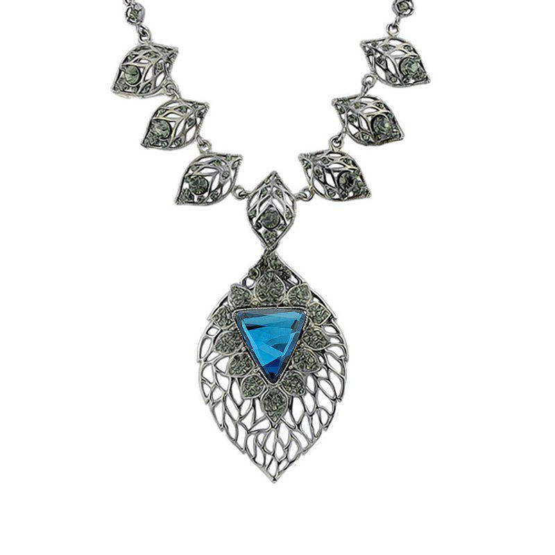 Hollow-out Leaf Gemstone Pendant Necklace for Women - multicolor A